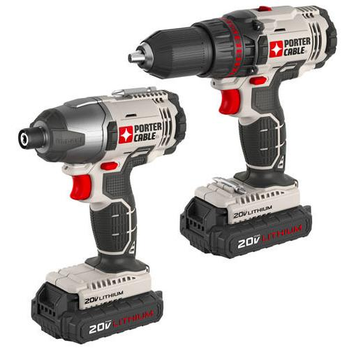 $84.99 PORTER-CABLE 20V* MAX Cordless Lithium Drill and Impact Combo Kit PCCK604L2R
