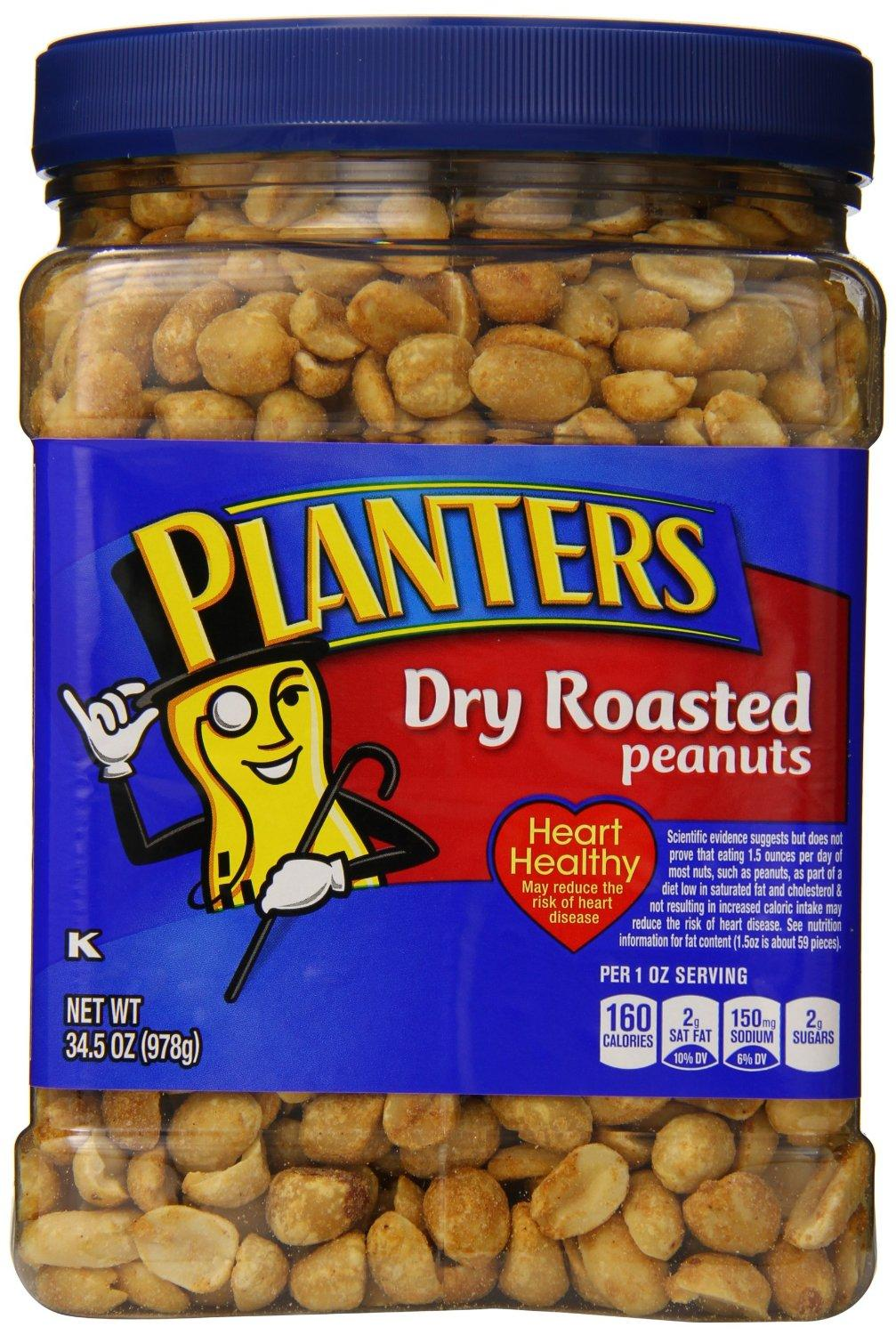 $9.93 Planters Dry Roasted Peanuts, With Pure Sea Salt, 34.5-oz. Packages (Count of 3)