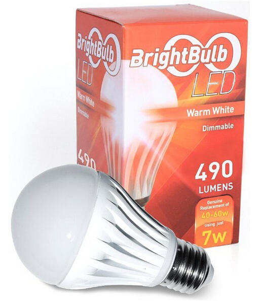 $6.99 7W BrightBulb LED LightBulbs A19 Warm White (7W= 40-60W Incandescent, Dimmable)