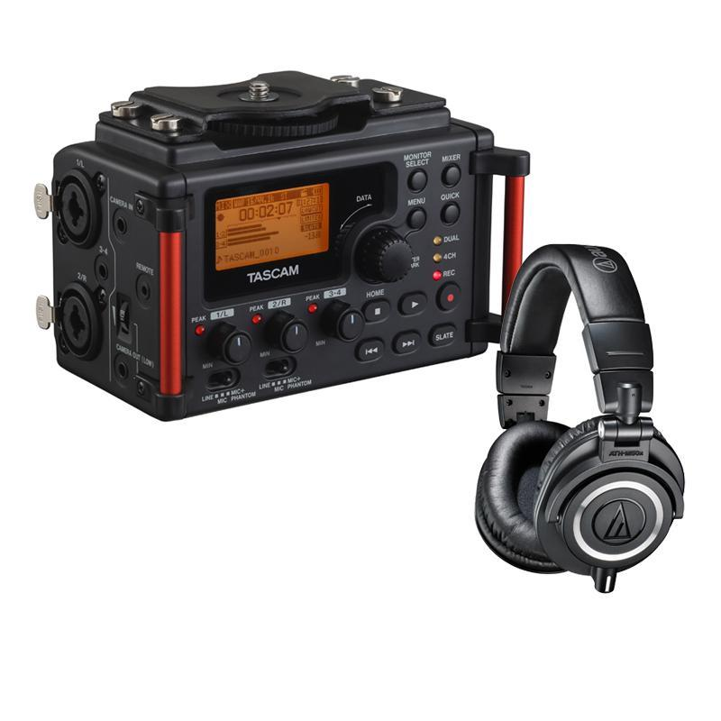 $249.95 Audio-Technica ATH-M50x Pro Monitor Headphones + Tascam DR-60D MKII Portable Recorder for DSLR