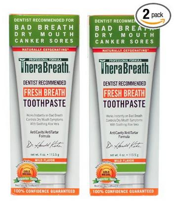 TheraBreath Dentist Recommended Fresh Breath Dry Mouth Toothpaste,Mild Mint,4 Ounce(Pack of 2)