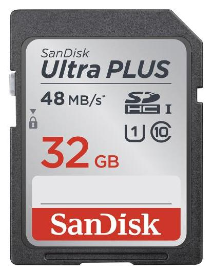 $15.99 SanDisk - Ultra Plus 32GB SDHC Class 10 UHS-1 Memory Card