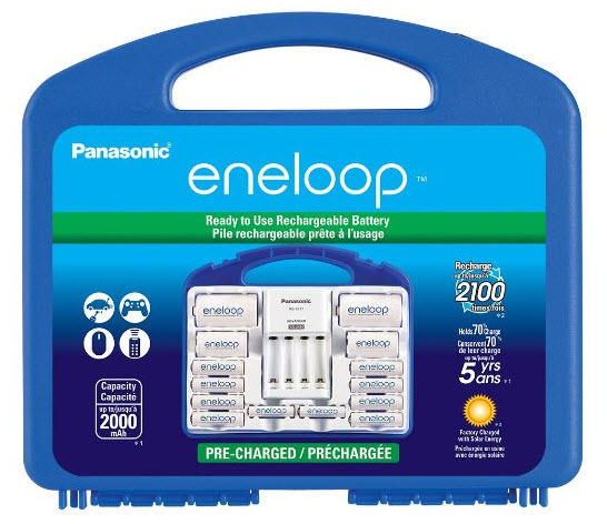 "$32.99 Panasonic eneloop Power Pack, 2100 cycle, 8 AA, 2 AAA, 2 ""C"" and 2 ""D"" Spacers, Advanced Individual battery charger"