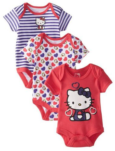 $11.99 Hello Kitty Baby Baby-Girls Newborn 3 Pack Bodysuits with Hearts