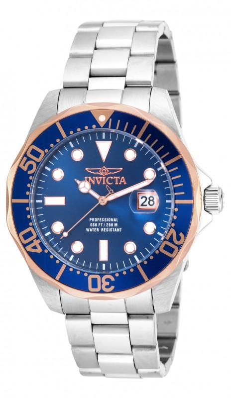Invicta Men's Pro Diver Stainless Steel Blue Dial Watch, 17554