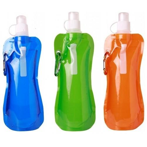 3-Pack BPA Free 16oz Collapsible Water Bottle With Carabiner Clip