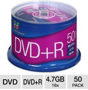 Free Color Research 50-Pack Spindle of 16X 4.7 GB DVD+R Discs (C18-42003)