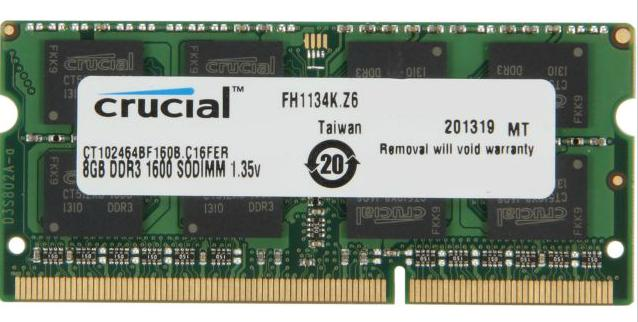 $49.29 Crucial 8GB 204-Pin DDR3 1600 (PC3 12800) Laptop Memory