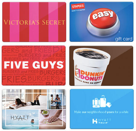 Extra 4% Off  Hyatt, Staples, Five Guys, Victoria's Secret & Dunkin Donuts Gift Cards