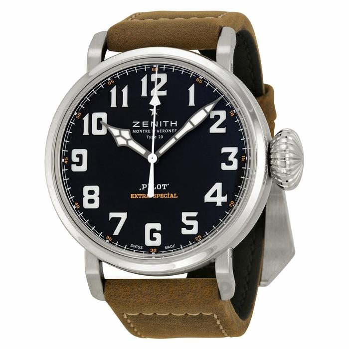 $3250 Zenith Pilot 20 Extra Special Black Dial Brown Leather Mens Watch 032430300021C738