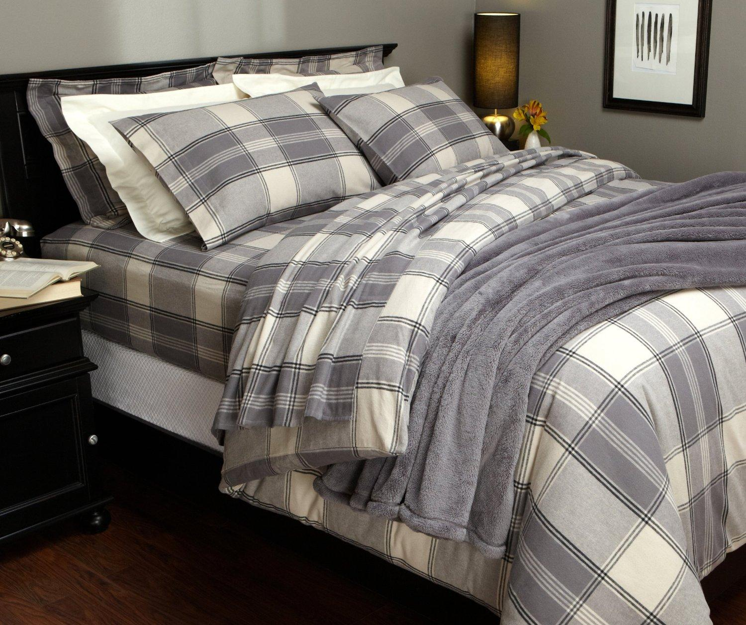 $23.13 Pinzon Lightweight Cotton Flannel Duvet Cover - Full/Queen,Grey Plaid