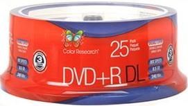 Free Color Research 25-Pack Spindle of 8X 8.5 GB DVD+R Dual-Layer Discs (C18-42012)