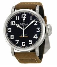 $3150 Zenith Pilot 20 Extra Special Black Dial Brown Leather Men's Watch 032430300021C738