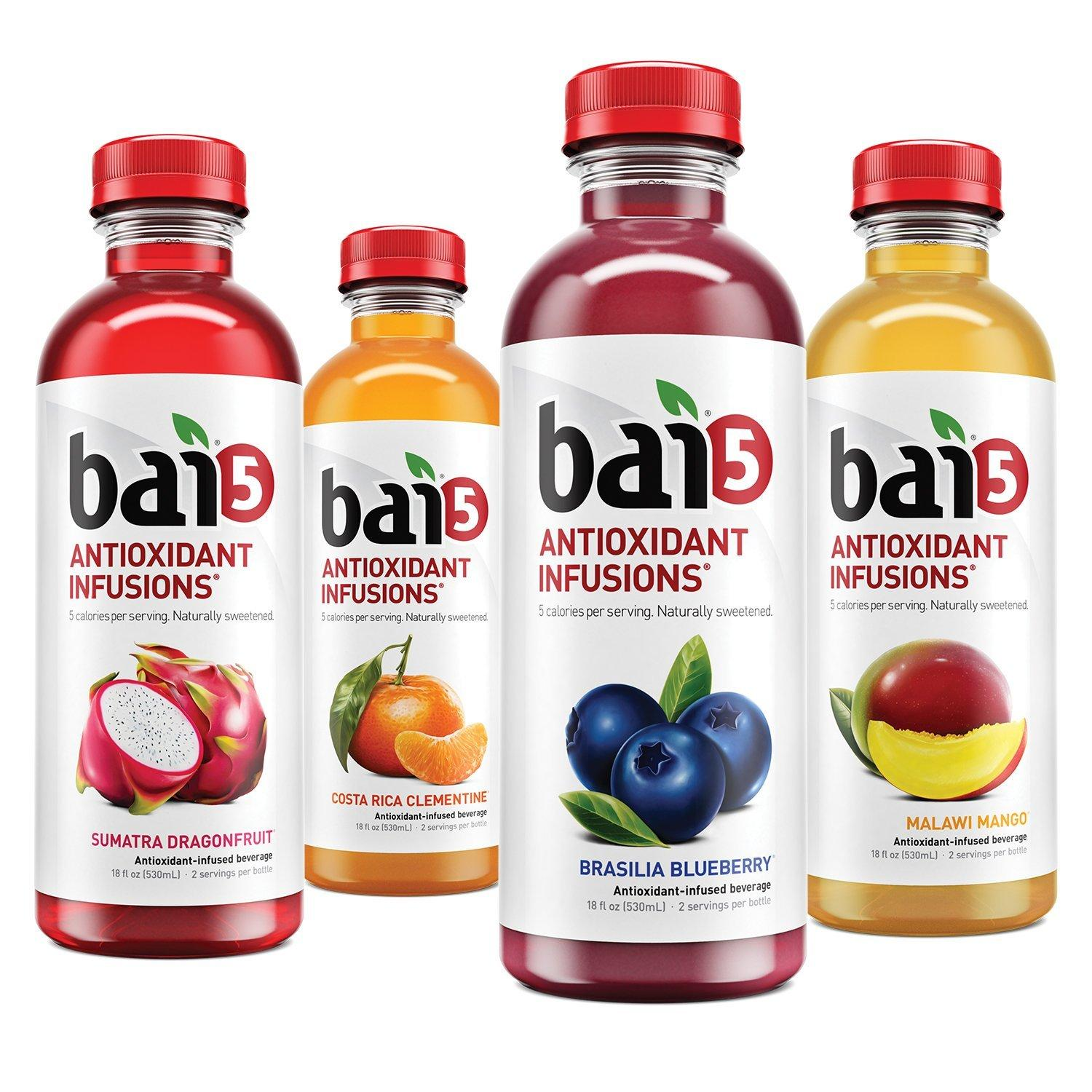 $18.15 Bai5, 5 calorie Variety Pack, 100% Natural, Antioxidant Infused Beverage, 18-Ounce Bottles (Pack of 12)