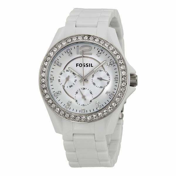 Fossil ES3252 Riley Ladies Quartz Watch w/ Crystal Bezel