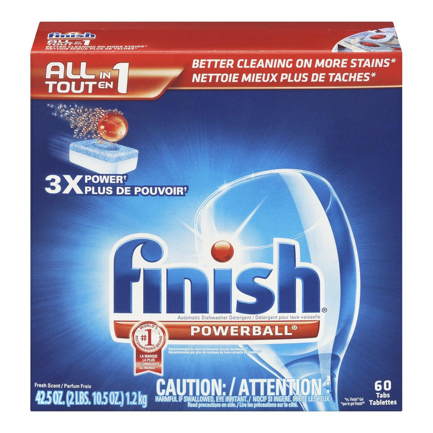 $5.94 Finish Powerball Tabs Dishwasher Detergent Tablets, Fresh Scent, 60 Count
