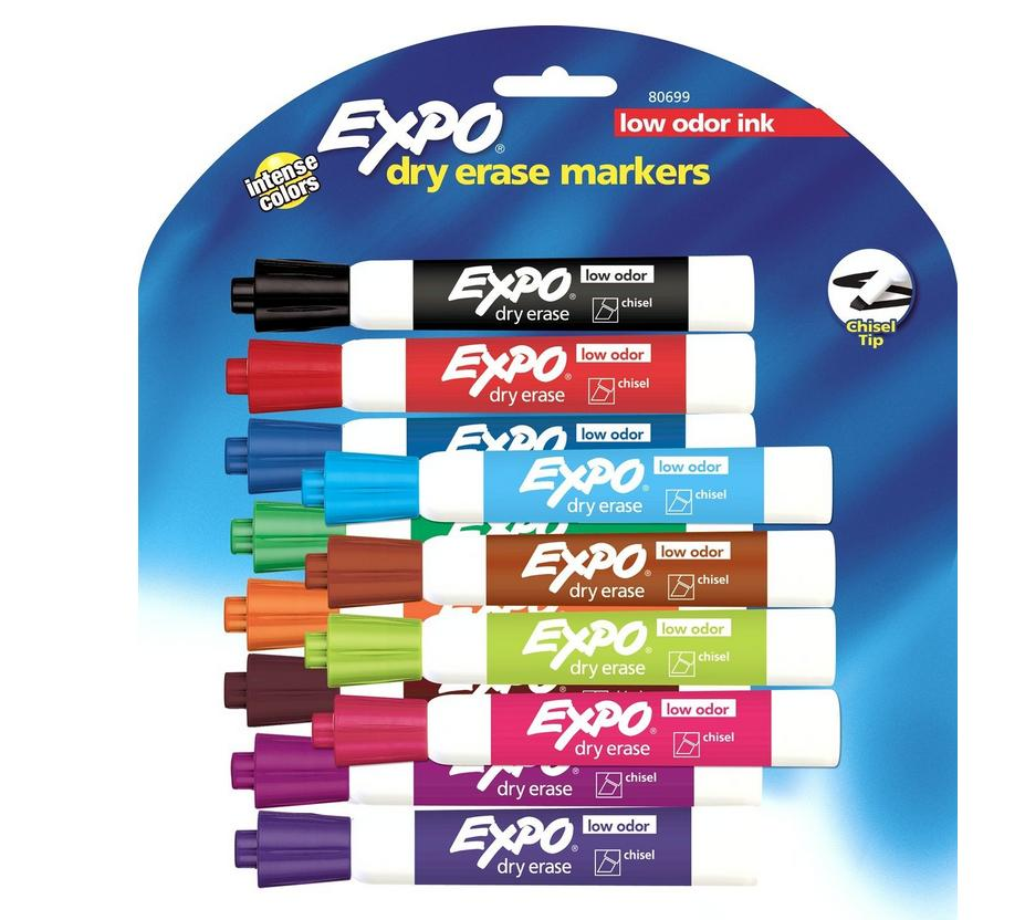 $9.99 Expo Low Odor Dry Erase Pen-Style Markers (12-Colors)