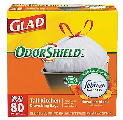 $9.99 Glad OdorShield Tall Kitchen Drawstring Trash Bags, 13 Gallon, 80 Bags