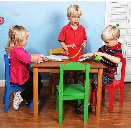 $69 Tot Tutors Wood Table and Chair Set, Multiple Colors