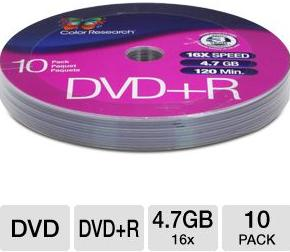Free Color Research 10-Pack of 16X 4.7 GB DVD+R Discs (C18-42011)