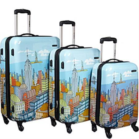 $419 Samsonite Nyc Cityscapes 3 Piece Set 20/24/28, Blue Print