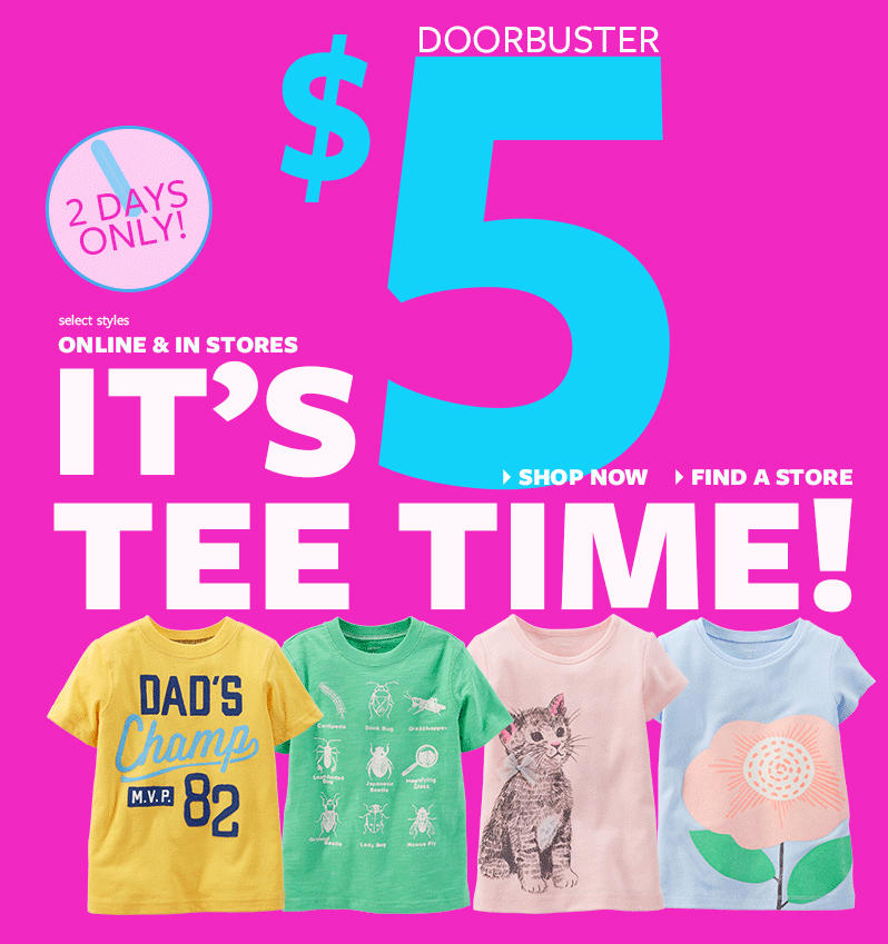 $5 Tee Flash Sale @ Carter's