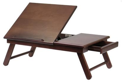 $18.89 Alden Lap Desk/Bed Tray with Drawer, Walnut