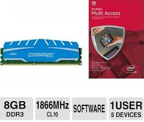 Free 8 GB Crucial Ballistix Sport XT 240-pin DDR3 1866 (PC3-14900) Desktop Memory and McAfee Multi-Access 2015 Bundle