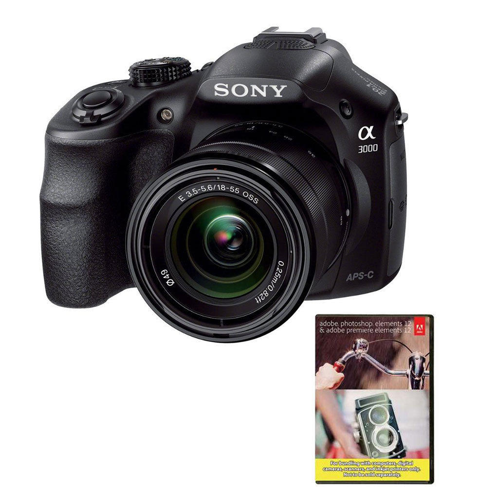 $249.99 Sony Alpha A3000 20.1MP Digital Camera with 18-55mm Lens + Adobe PhotoShop Elements12