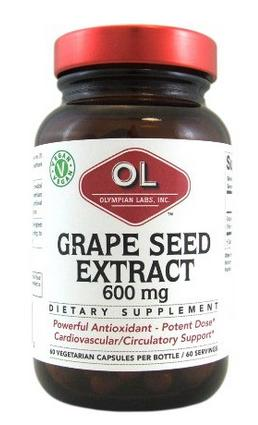 Olympian Labs Grape Seed Supplement, 600 mg, 60 Count