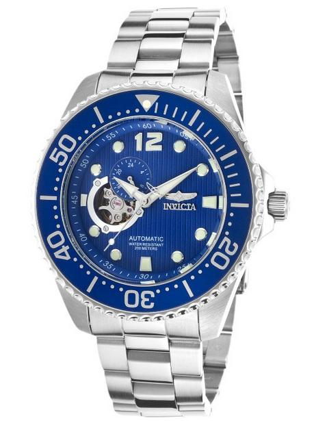 Invicta Men's Pro Diver Automatic Partially Skeletonized Blue Textured Dial Stainless Steel Watch
