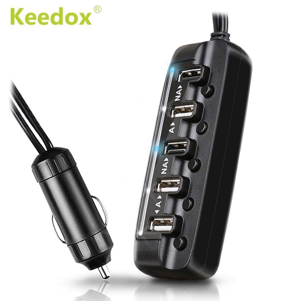$7.99 Keedox 8A/40W 5-Port USB High Output Car Charger Adapter