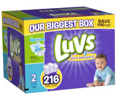 $27.5 Luvs With Ultra Leakguards Size 2 Diapers 216 Count