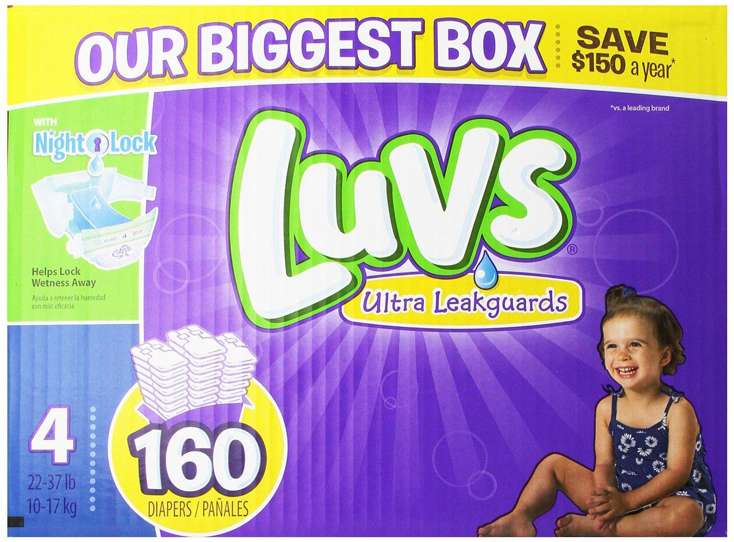 $28.44 Luvs With Ultra Leakguards Size 4 Diapers 160 Count