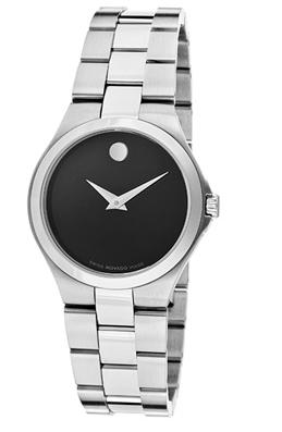 Movado Women's Black Dial Stainless Steel Watch 606558