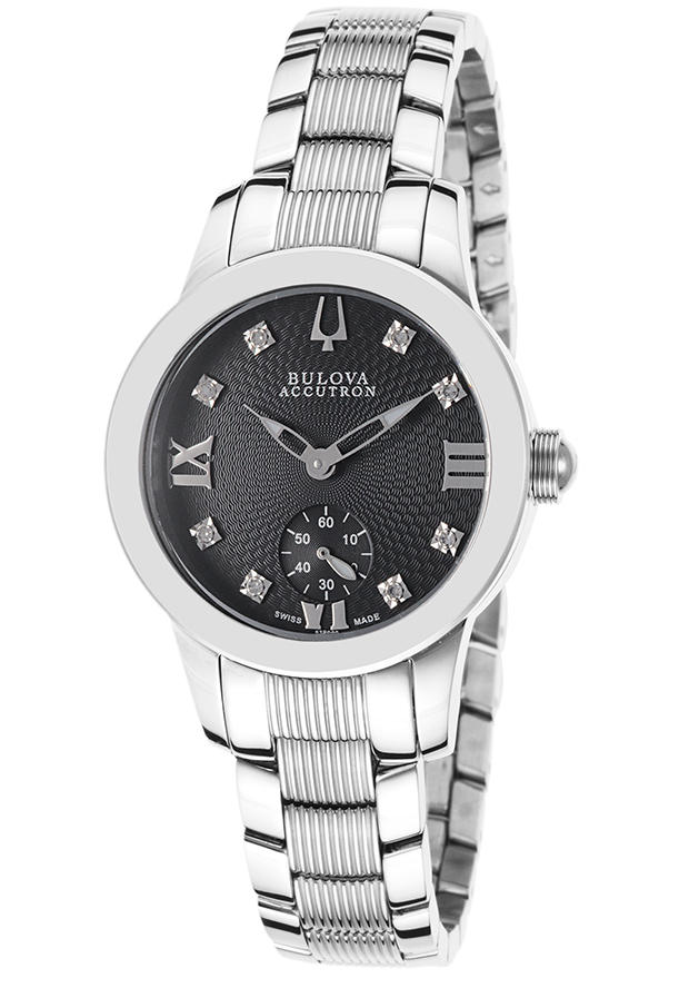 Accutron by Bulova Women's Stainless Steel & Black Textured Dial Diamond Accent Watch, 63P000