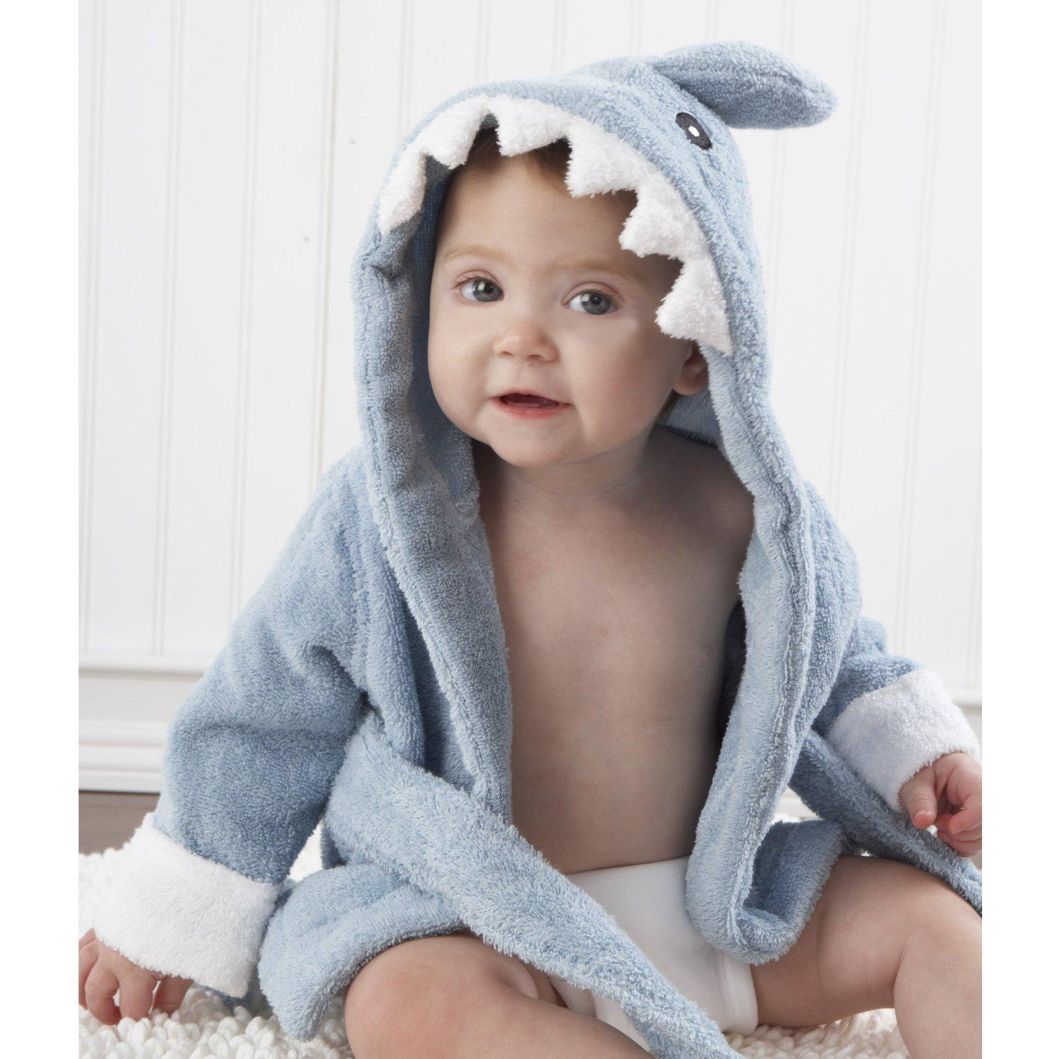 "$24.92 Baby Aspen Baby ""Let the Fin Begin"" Blue Terry Shark Robe, Blue, 0-9 months"