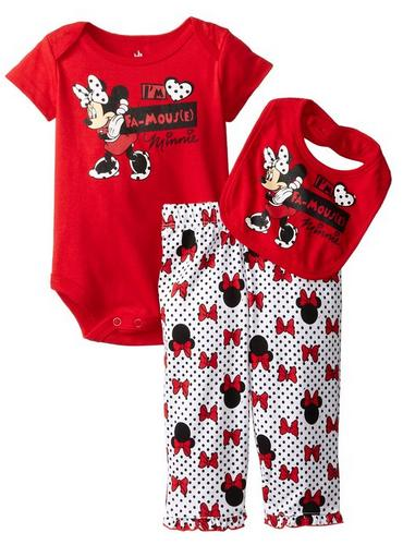 $9.75 Disney Baby-Girls Newborn Minnie Mouse 3 Piece Bow Print Bib Set