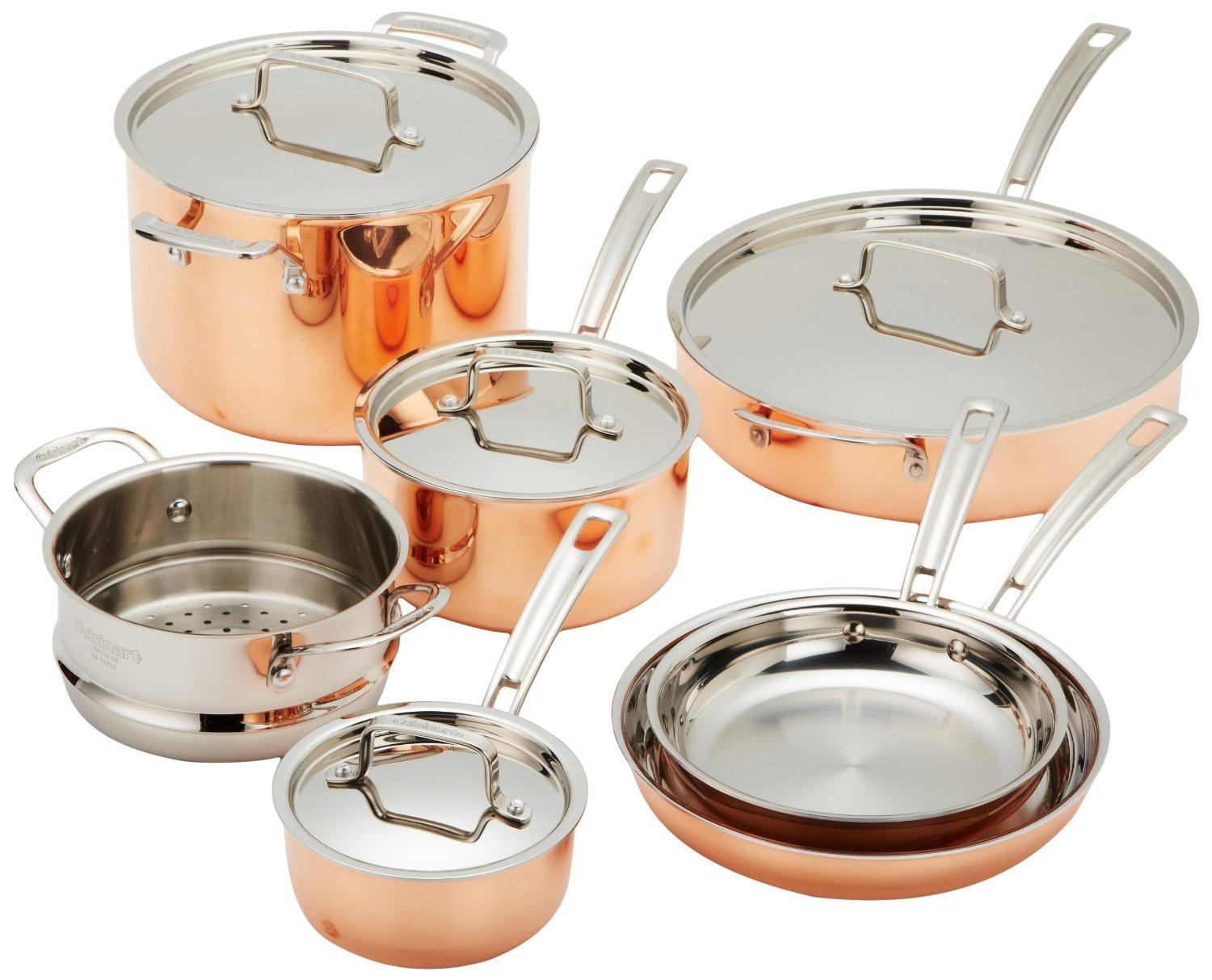 $359.99 Cuisinart CTP-11AM Copper Tri-Ply Stainless Steel 11-Piece Cookware Set