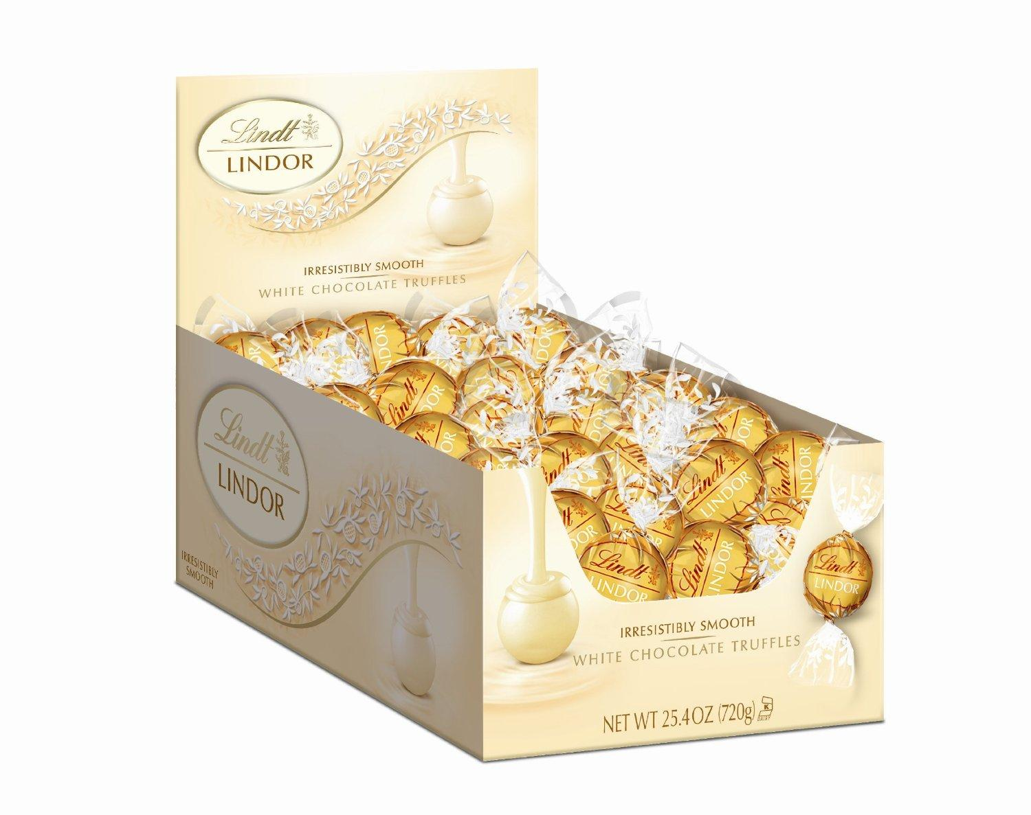 Lindt LINDOR White Chocolate Truffles, 120 Count Box