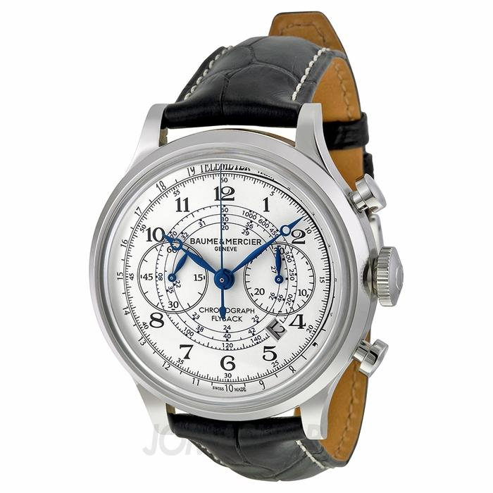 $2395 Baume and Mercier Capeland White Dial Chronograph Mens Watch 10006