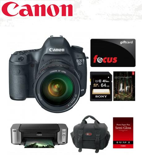 $2849 Canon EOS 5D Mark III DSLR Camera with 24-105mm Lens & PIXMA PRO-100 Printer Bundle + $50 Focus Gift Card