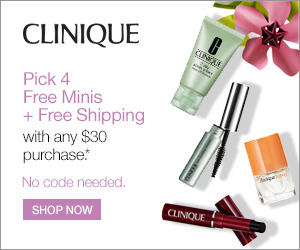 Pick 4 Free Minis  with Any $30 Purchase @ Clinique