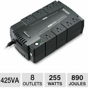 $29.99 CyberPower Standby Series 425VA UPS - 8 Outlets, 255 Watts, 890 Joules, RJ11 Protection, 6 Ft Cord - SE425G