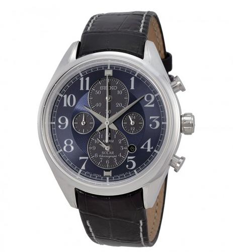 $99.99 SEIKO Solar Chronograph Blue Dial Stainless Steel Mens Watch
