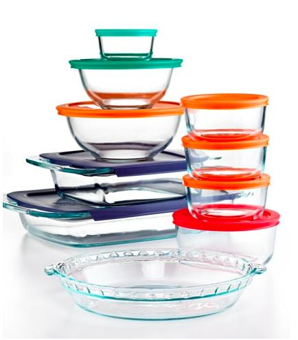 $39.99 Pyrex 19 Piece Bake, Store and Prep Set with Colored Lids