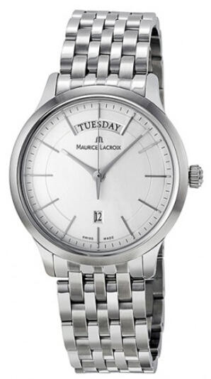 $395 Maurice Lacroix Silver Dial Stainless Steel Mens Watch LC1007-SS002-130