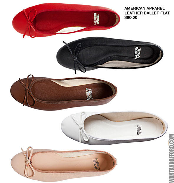 $12American Apparel Women's Leather Ballet Flats