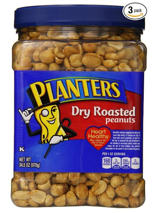 $10.45 Planters Dry Roasted Peanuts, With Pure Sea Salt, 34.5-oz. Packages (Count of 3)