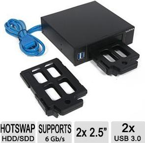 "Ultra Internal Hot Swap HDD/SSD Dock For Two 2.5"" Drives w/ Two Front USB 3.0 Ports (U12-42483)"